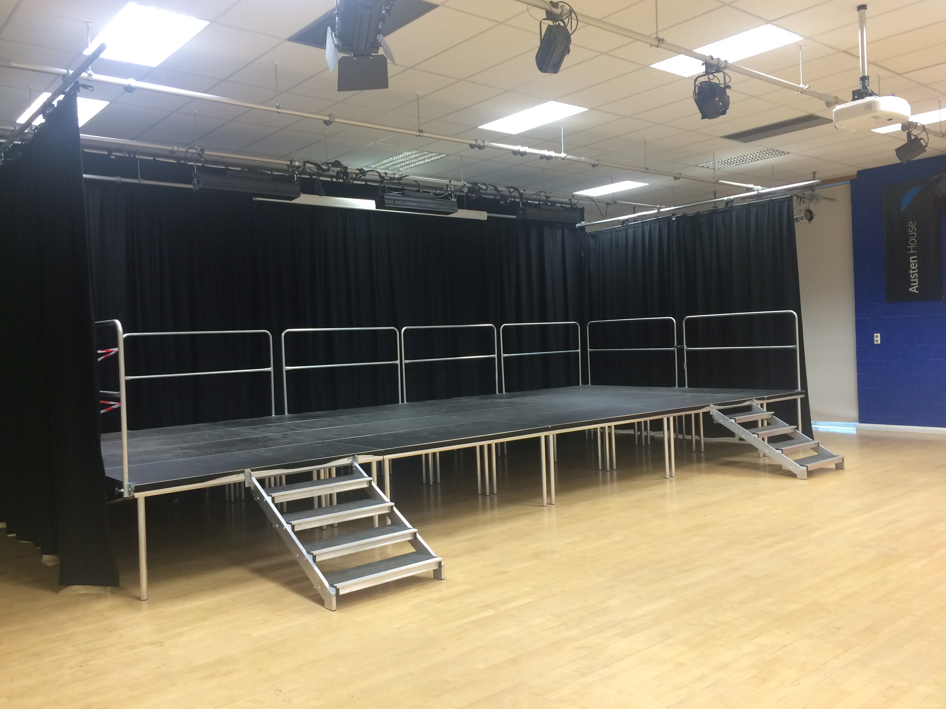 School Stage with curtains by Abacus Stagetech
